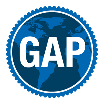 Global Awareness Program Icon - white text reading GAP on a dark blue background with a scalloped border. Image in background features a world map in a slightly lighter blue color.