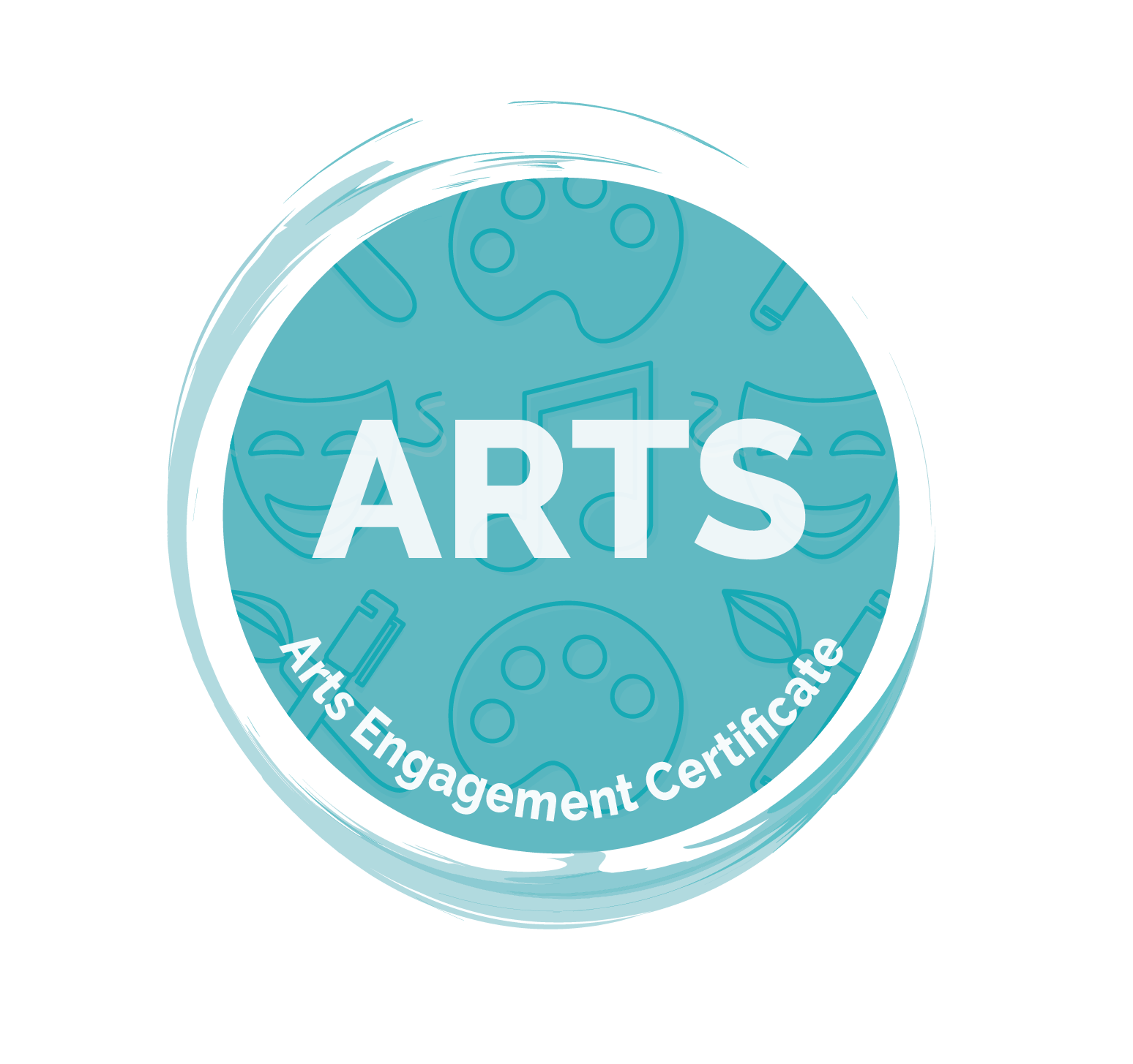 "Arts Engagement Certificate Icon - light blue circle with paintbrush swoop surrounding. White text reading ""ARTS"" and ""Arts Engagement Certificate"" on top of light blue circle with various arts-related images in background including drama mask, paint palette, music note, and paintbrush."