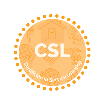 Certificate in Service Learning Icon - white text reading certificate name on an orange circle with dotted border. Icons in background have images of a house, hands surrounding a plant, hands holding a globe, a handshake, a gear, and a torch