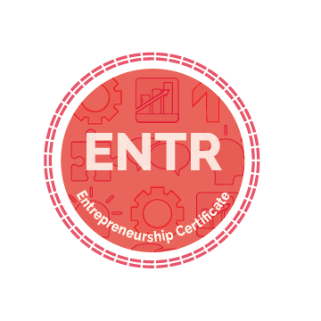 Entrepreneurship Certificate Icon - white text with certificate name on a red circle background with a repeating = border. Background includes image sof a bar graph, gear, puzzle piece, up arrow, conversation bubble, and person's head