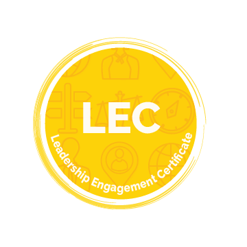 Leadership Engagement Certificate Icon - white text reading LEC on a bright yellow background with a swoop border. Images in background include a compass, weighing scales, street signs, person outline, and globe