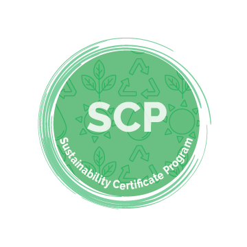 Sustainability Certificate Icon - White text on a green circle with swirled border. Images in background include recycling symbol, sun, water droplet, plant.